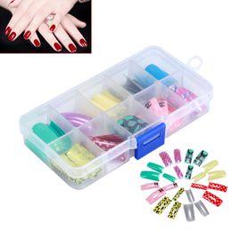 patterned acrylic nail tips 2019 - Random Color 100pcs Box False Acrylic Gel Airbrush Pattern & French Mix Nail Art Tips Salon Decoration discount patterne