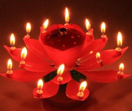 music birthday candles NZ - Velas Decorativas Newest Music Candle Birthday Party Wedding Lotus Sparkling Flower Candles Light Event Festive Supplies Ems free 400pcs