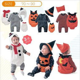 Barato Ternos Do Bebê-Roupa do bebê Newborn Halloween Hats Romper Vest Suits Toddler Jumpsuits Overalls Devil Vampire Pumpkin Cosplay Outfits Party Costume B2855