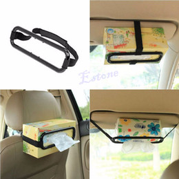 Discount box trucks - Wholesale- Portable Tissue Box Dispenser Clip Bracket Car Truck Sun Visor Seat Back Paper Holder Fixed Frame