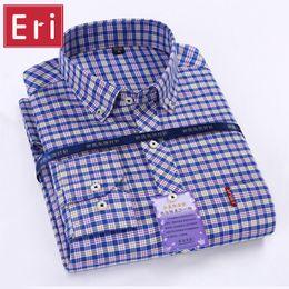 $enCountryForm.capitalKeyWord Canada - Wholesale- 2017 New Oxford Men Shirts Plaid Long Sleeve Button Turn-Down Collar Slim Fit Mens Dress Business&Casual Shirt Chemise 4XL X442