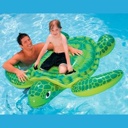 $enCountryForm.capitalKeyWord Canada - Wholesale- Intex Sea Turtle Ride On Swimming Pool Float Raft Toy Inflatable Beach Toy Gift with Air Pump 500cc