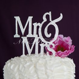 Mr Mrs Wedding Cake Topper Modern Monogram Decoration Silver Crystal Rhinestone Discount Wholesale Toppers