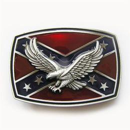 New Vintage Men Belt Buckle 3D Eagle on Flag Rectangle Enamel Belt Buckle Gurtelschnalle Boucle de ceintu BUCKLE-3D047 US Stock
