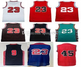 Chemises En Polyester Blanc Pas Cher-Hot Sale 2017 MJ Hommes Retro Basketball Jerseys # 45 23 # 9 # Dream Jersey Haute qualité White Red Blue Throwback Shirts