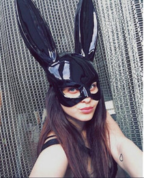 Cute Cat Cosplay online shopping - New Women Girl Party Rabbit Ears Mask Black White Cosplay Costume Cute Funny Halloween Mask