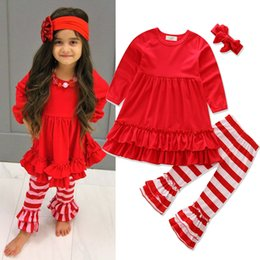 Barato Calça Para Criança-New Hot Sale Children 3 pcs define Baby Girls Fashion Red Top + Striped Trouser + Headband Casual Trajes Kids Christmas Clothing