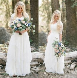 2017 modest lace bohemian beach wedding dresses cheap plus size a line v neck half sleeves long bridal gowns country wedding party dress