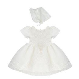 Toddler Bonnets Australia - High Quality Baptism Gown Baby Girls Christening Dress Ivory Lace Applique Toddler Robe With Bonnet 0-24month H0030