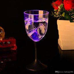 plastic goblets 2019 - LED Light Up Cup Plastic Clear Red Wine Goblet Glowing In The Dark Flash Standing Cups For Bar Accessory 7jc R cheap pla