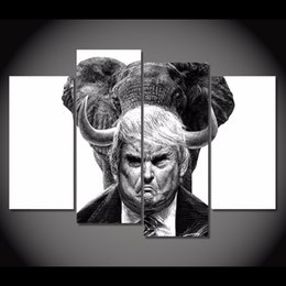 $enCountryForm.capitalKeyWord NZ - 4 Pcs Set HD Printed Cartoon Trump Painting on canvas room decoration print poster picture canvas framed Free shipping NY-6261