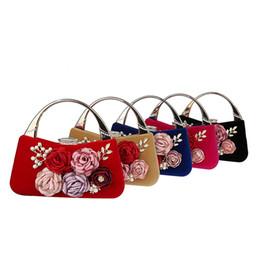 Discount chain for handbag strap - Fashion Elegant Peony Flower Pearl Clutch Banquet Bag Purse Wedding Bridal Handbag Chain strap 5 color For choose F988-8