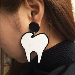 funny charms wholesale NZ - Exaggerated Big Funny New Tooth Earring Fashion Wome's Pendientes Pendant Charm Earrings for Women