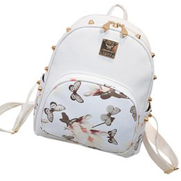 Chinese  Wholesale- New Arrvival Women PU Leather Rose Butterfly Printing Backpack Waterproof Travel School Backpack manufacturers