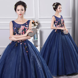 $enCountryForm.capitalKeyWord NZ - 100%real navy blue flower organza embroidery carnival ball gown medieval dress Renaissance Gown queen cosplay Victorian Marie Belle