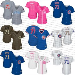 womens chicago cubs 71 wade davis baseball jersey grey white pink fashion alternate .