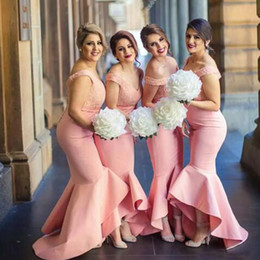 Lavender Blush Wedding Dress Australia - 2017 Fitted Bridesmaids Dresses Blush Pink Coral Peach Off the Shoulder Lace Top High Low Asymmetrical Skirt Bridemaid Dress for Wedding