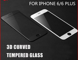 Discount tempered glass iphone retail pack - 3D Full Cover Curved Edge Tempered Glass Carbon Fiber Screen Protecto for iphone7 7 PLUS 6 6plus with retail pack