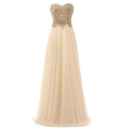 Barato Vestido Strapless Sweetheart Ouro-Novo Estilo Sexy Gold Lace Appliques Sweetheart Strapless Chiffon Prom Dress Ajustável Corset Back Evening Dress