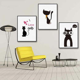 $enCountryForm.capitalKeyWord NZ - Modern Cartoon Animal Cat Wall Art Painting Canvas Poster Prints Canvas Painting Wall Pictures Kids Room Home Decor