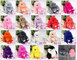 Animal Purple Doll Canada - New Pom Pom Mini Car Rex Play Dead Rabbit Key chain 19 Colors Fur Car Backpack Rabbit Doll Pendant Fashion Toys Wallet Handbag Bag Pendant