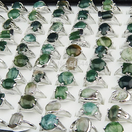 Cluster Rings For Womens Canada - Wholesale Jewelry Lots 50pcs 100% Natural Green Stones Tourmaline Stones Mix Style Silver Rings for Womens Mens Fashion A002