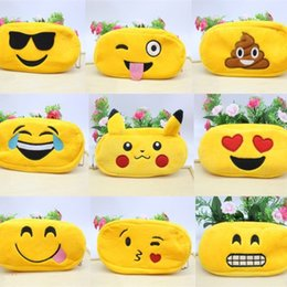 Discount wholesale stationery for kids - New Yellow Plush Cute Cartoon Kawaii Pencil Case Plush Large Pencil Bag for Kids School Supplies Material Stationery IB4