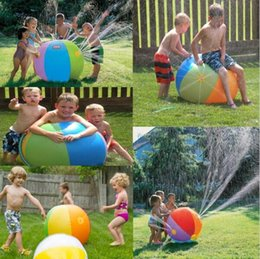 Large Water Inflatables Canada - Inflatable Beach Water Ball Outdoor Sprinkler Summer Inflatable Water Spray Balloon Outdoors Play In The Water Beach Ball 60cm 75cm children