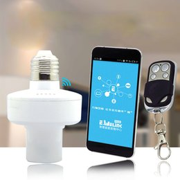 Discount wireless home switch for lights - Wholesale-220V app timer switch lampholder 433 RF remoteled bulb wireless wifi remote light switch ,control Home Sensor