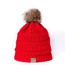 156e3ab0ee8e49 Unisex CC Trendy Hats Winter Knitted Fur Poms Beanie Label Fedora Luxury  Cable Slouchy Skull Caps Fashion Leisure Beanie Outdoor Hats F898-1