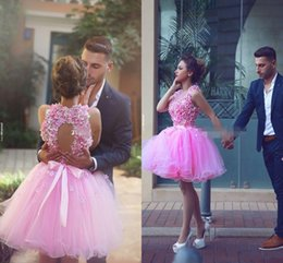 Cheap Cute Plus Size Dresses NZ - Cute Pink Short Homecoming Dresses Ball Gown Tulle Handmade Flower Bead Backless Halter Mini 2018 Cheap 8th Grade Cocktail Party Dresses