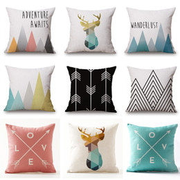 China Geometric Beige Cushion Covers Nordic Deer Adventure Mountain Love Arrows Pillow Covers Thin Linen Cotton Bedroom Sofa Decoration suppliers