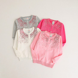 Pulls Tricotant Mignons Pour Filles Pas Cher-Everweekend Girls Sequins Dots Sweater Cardigans Candy Color Knitted Cute Children Mode bébé Printemps Automne Vêtements