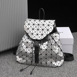 holographic bags UK - Women Backpack Feminine Geometric Plaid Sequin Female Backpacks For Teenage Girls Bagpack Drawstring Bag Holographic Backpack