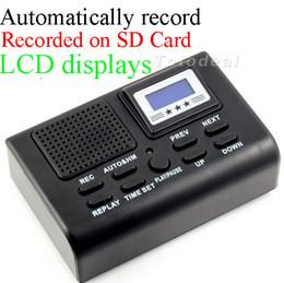 Venta al por mayor-Mini Teléfono Grabadora de voz digital Registrador de teléfono / Teléfono Monitor de voz Pantalla LCD azul con función de reloj