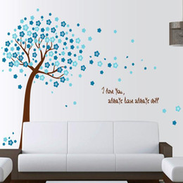 blue flowers background Canada - romantic peach pink blue flower tree home decor wall stickers living room TV background flora decal LOVE quote wedding mural art