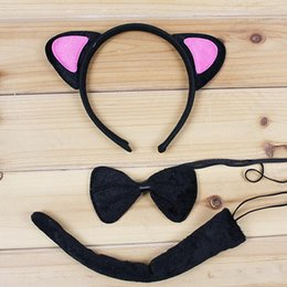 Ensemble De Queue D'oreille De Chat Pas Cher-Cute Cat Animal Ear Headband Bow Tie Tail 3pcs Set Cosplay Accessoires pour cheveux Halloween Birthday Party Favors Gift