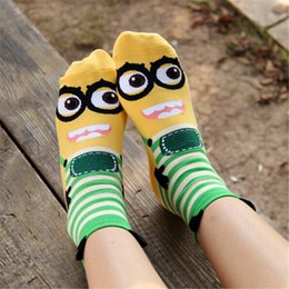 bd27fadc15a New Cotton Minions Socks For Female Designer New Cartoon Korean 3D Style Women  Sock Candy Colors Short In Tube Hosiery W033