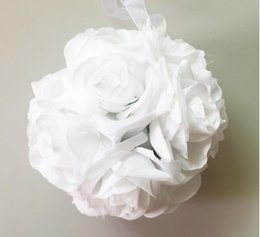 $enCountryForm.capitalKeyWord Australia - Wall Mounted Artificial Silk Flower Rose Balls Wedding Centerpiece Pomander Bouquet for Wedding Party Decoration Decorative Flowers 13 Color