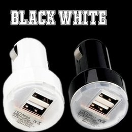Mp3 Micro online shopping - White Black Mini Micro Auto Universal Dual USB Ports Car Charger A A Charger for iphone for samsung gps mp3 pc