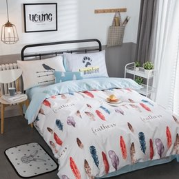 4pcs fashion feather print 100 cotton bedding set twin full queen size duvet cover flat fitted bed sheet pillowcase bedlinen