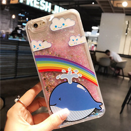 Discount apple south korea - hot sale South Korea relief flamingo flash powder quicksand i 7 mobile phone shell 6S plus liquid personality protective
