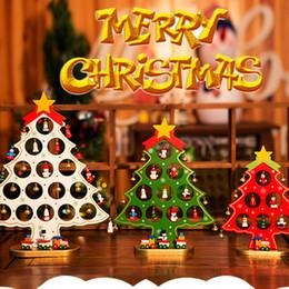 Christmas Tables Canada - Christmas Gift XMAS Trees Christmas Tree With Ornament DIY Cartoon Wooden Christmas tree Table Desk Decoration