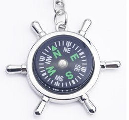 Wholesale Items Sold Australia - Alloy Nautical helm compass keychain Fashion Key Chains Charms Keychains novelty key rings small items best selling items fast shipping