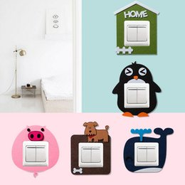 wall stickers multicolor NZ - fashion multicolor reusable switch cover wall stickers cartoons felt hollow switch socket stickers switch protection cover