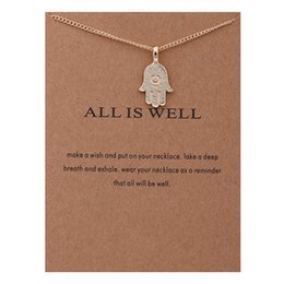 $enCountryForm.capitalKeyWord Canada - 2017 Fashion Dogeared Necklaces With Card Gold ALL IS WELL Hamsa hand charms Pendant necklace For women Jewelry Gift Wholesale