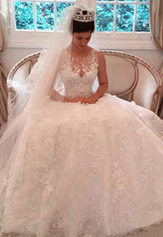 $enCountryForm.capitalKeyWord Australia - 2017 Vintage Full Applique Lace Wedding Dresses A Line Sheer Nack Button Back Court Train Bridal Gowns With Free Veil Custom