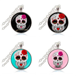 day dead pendants Australia - Sugar Skull Pendant Necklace Day of the Dead Jewelry Owl Stars Picture Sweater Necklace Glass Cabochon Time Gem Animal Jewellery