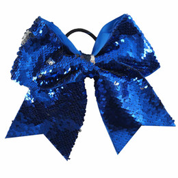 Wholesale 7 quot Reversible Mermaid Two Tone Sequin Cheer Bow With Ponytail Holder Girl Kids Handmade Large Bling Fish Scale Fabric