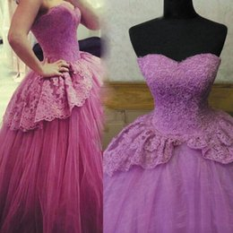 Les Filles S'habillent Pas Cher-Light Purple Ball Gown Quinceanera Robes Avec Sweetheart Dentelle Et Tulle Peplum Girls Site